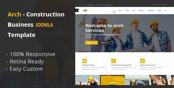 Arch - Construction, Building And Business Joomla! Template            TFx