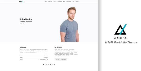 Ario-X Onepage Personal Portfolio Template            TFx