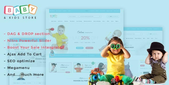 Baby Store - DRAG & DROP, clean, responsive Shopify themes            TFx