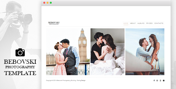 Bebovski Photography - Modern HTML Site Template for Photography            TFx