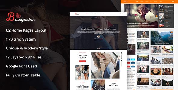 Bmag Mega Blog/Magazine PSD Template            TFx