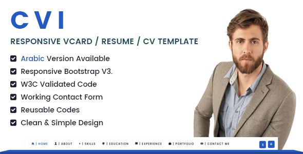 Cvi | Responsive vCard / Resume / CV Template            TFx