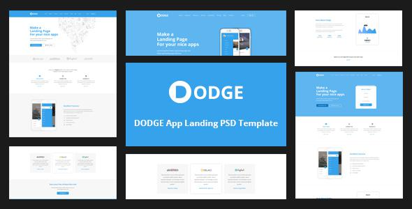 DODGE App Landing PSD Template            TFx