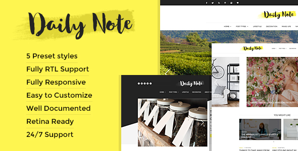 Daily Note - Creative and Responsive Blog Template            TFx