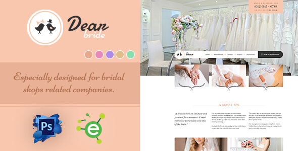 Dear Bride - One Page Wedding Salon PSD Template            TFx
