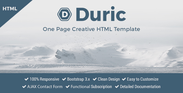 Duric - One Page Creative HTML Template            TFx