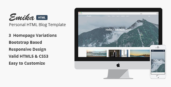 Emika - Personal HTML Blog Themplate            TFx