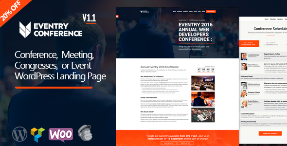 Eventry - Conference & Event Landing Page WordPress Theme            TFx