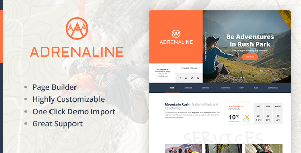 Extreme sports WordPress theme for outdoor adventure businesses - Adrenaline            TFx