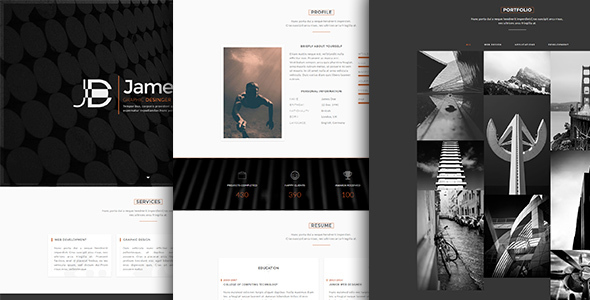 Faber-One Page Resume/Portfolio HTML Template            TFx