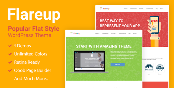 Flareup - Responsive Flat WordPress Theme            TFx