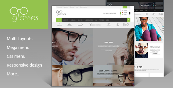 Glasses Shop - Magento Theme            TFx