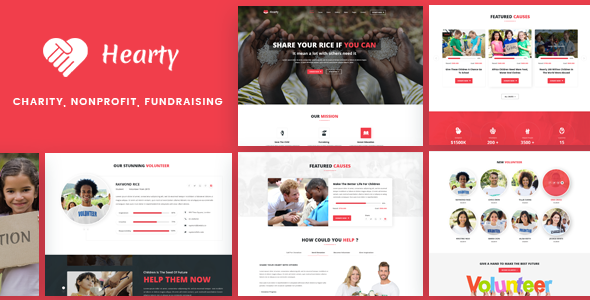 Hearty - Charity, NonProfit, FundRaising WordPress Theme            TFx