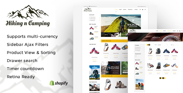 Hiking and Camping: An Outdoor Shopping Experience Shopify Theme            TFx