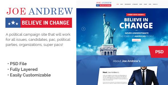 JOE Political Campaign Landing Page            TFx
