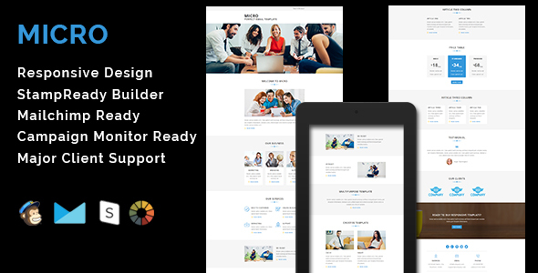 MICRO - Multipurpose Responsive Email Template With Stamp Ready Builder Access            TFx
