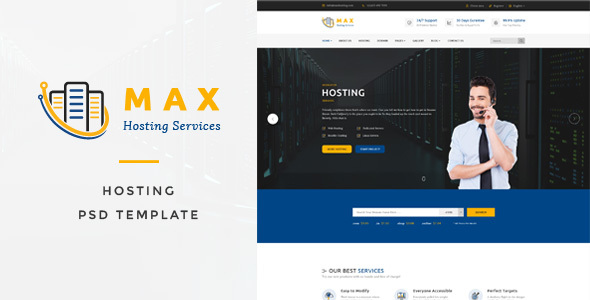 Max Hosting - Hosting Company PSD Template            TFx