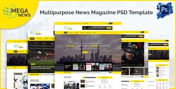 Mega News - Multipurpose News Magazine PSD Template            TFx