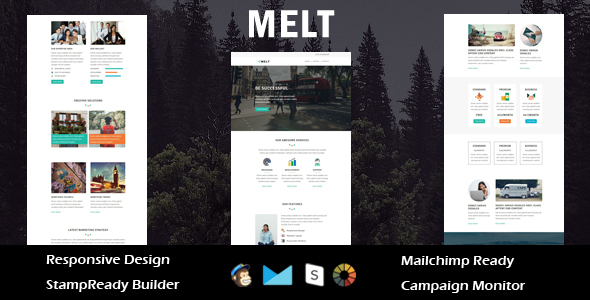 Melt - Multipurpose Responsive Email Template + Stampready Builder            TFx