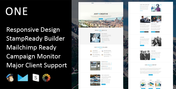 One - Multipurpose Responsive Email Template + Stampready Builder            TFx