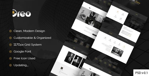 Oreo - Creative Landing Page PSD Template            TFx
