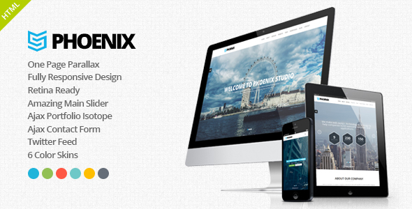 Phoenix - Responsive One Page Parallax Template            TFx