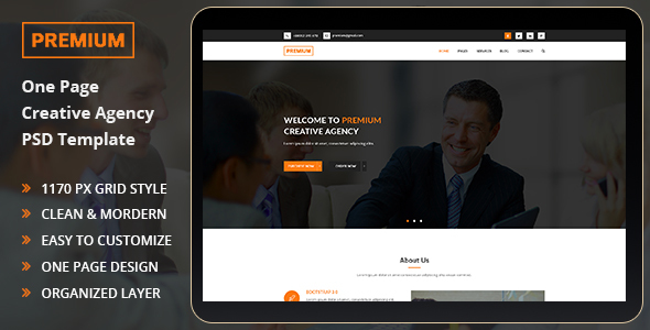Premium - One Page PSD Templete            TFx