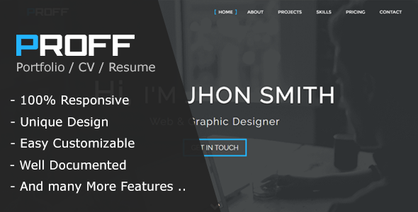 Proff | One Page Personal & Portfolio HTML Template            TFx