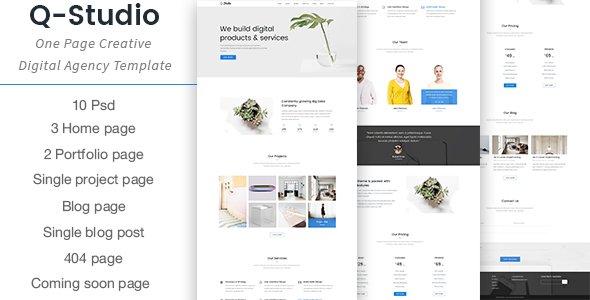 Q-Studio - One Page Creative Digital Agency Template            TFx
