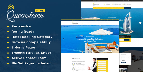 QueensTown : Resort and Hotel HTML Template            TFx
