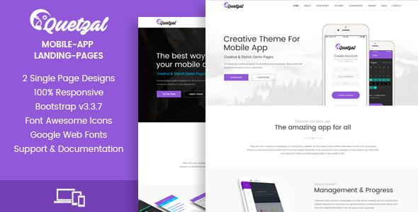 Quetzal - HTML App Landing Pages            TFx