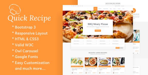 Quick Recipe - Food & Recipes WordPress Theme            TFx