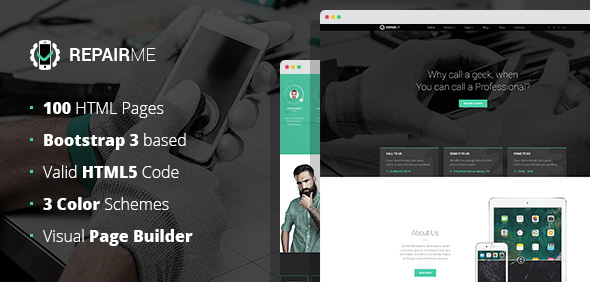 RepairMe - gadgets / home appliance repair workshop HTML template with Builder            TFx