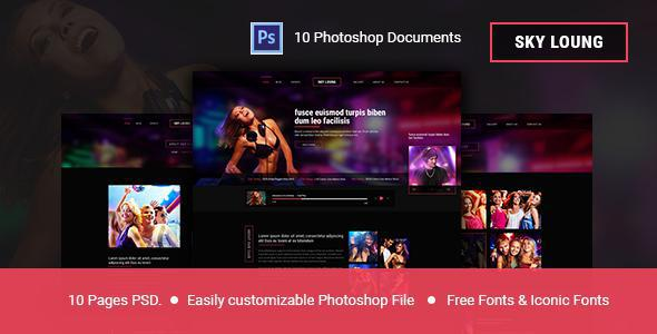 Sky Loung  - Event, DJ, Party, Music Club PSD Template            TFx