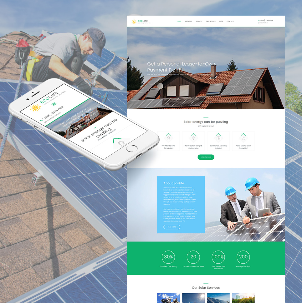 Solar Energy Responsive Moto CMS 3 Template TMT