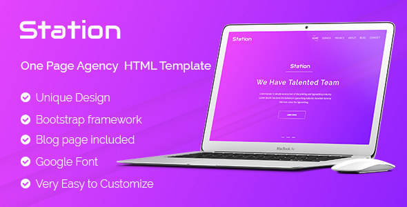 Station-One Page Agency HTML Template            TFx