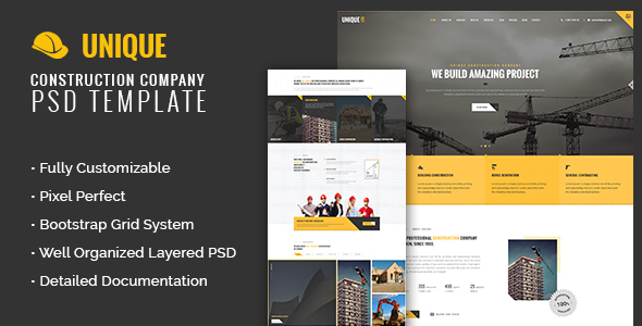 UNIQUE - Construction Company PSD Template            TFx