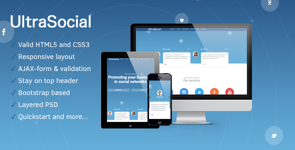 UltraSocial - SMM Onepage / Landing Page Template            TFx