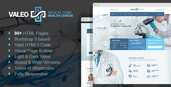 Valeo - health center, clinic & hospital HTML template with Page Builder            TFx