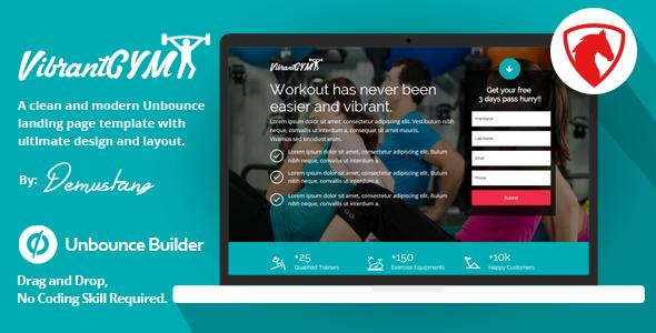 Vibrant GYM - Unbounce Landing Page Template            TFx