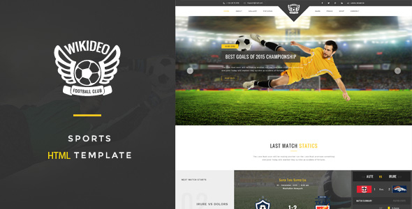 Wikideo Sports - Soccer and Football HTML Template            TFx