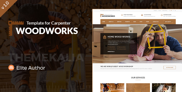 Wood Works - Renovation Services, Carpenter and Craftsman Business HTML Template            TFx
