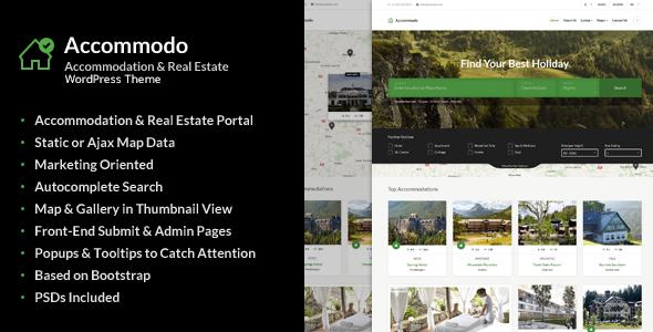 Accommodo - Accommodation / Real Estate / Travel WordPress Theme            TFx