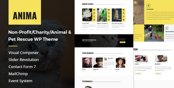 Anima - Pet Rescue and Shelter WordPress Theme for Non-Profit/Charity/Fundraising Organization            TFx