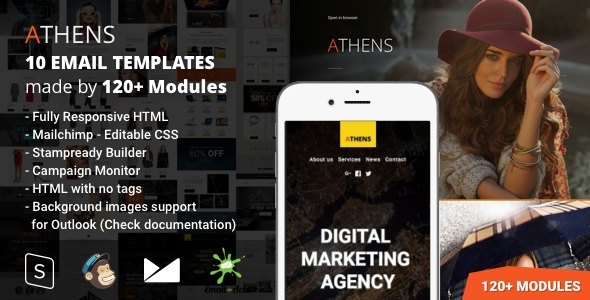 Athens - 10 Responsive Email Templates (120+ Modules) with Mailchimp Editor & StampReady Builder            TFx
