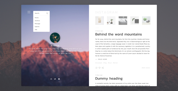 Avenue - Stunning Blogging Tumblr Theme            TFx
