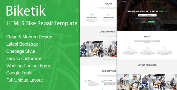 Biketik – HTML5 Bike Repair & Service Template            TFx