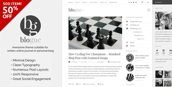 Blogue - WordPress Theme for Writers             TFx