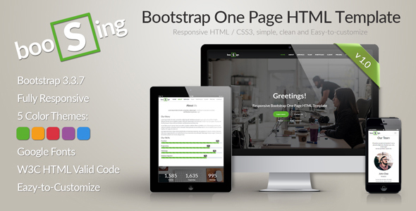 BooSign - Responsive Bootstrap One Page HTML Template            TFx
