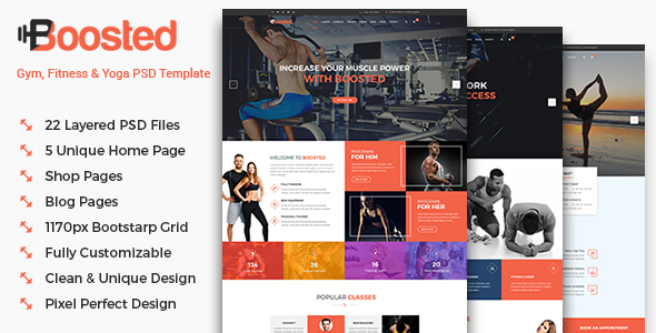 Boosted - Gym, Fitness & Yoga PSD Template            TFx